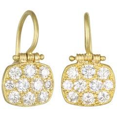 Faye Kim 18 Karat Matte Green Gold Diamond Chiclet Hinge Earrings