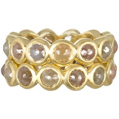 Faye Kim 18 Karat Milky Diamond Bezel Eternity Stack Rings