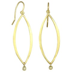 Faye Kim 18 Karat Gold Open Marquise Earrings with Raw Diamond Drop