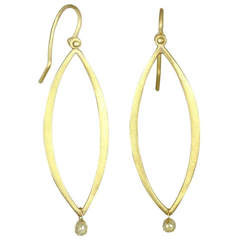 Faye Kim 18 Karat Gold Open Marquise Earrings with Raw Diamond Drop For Sale