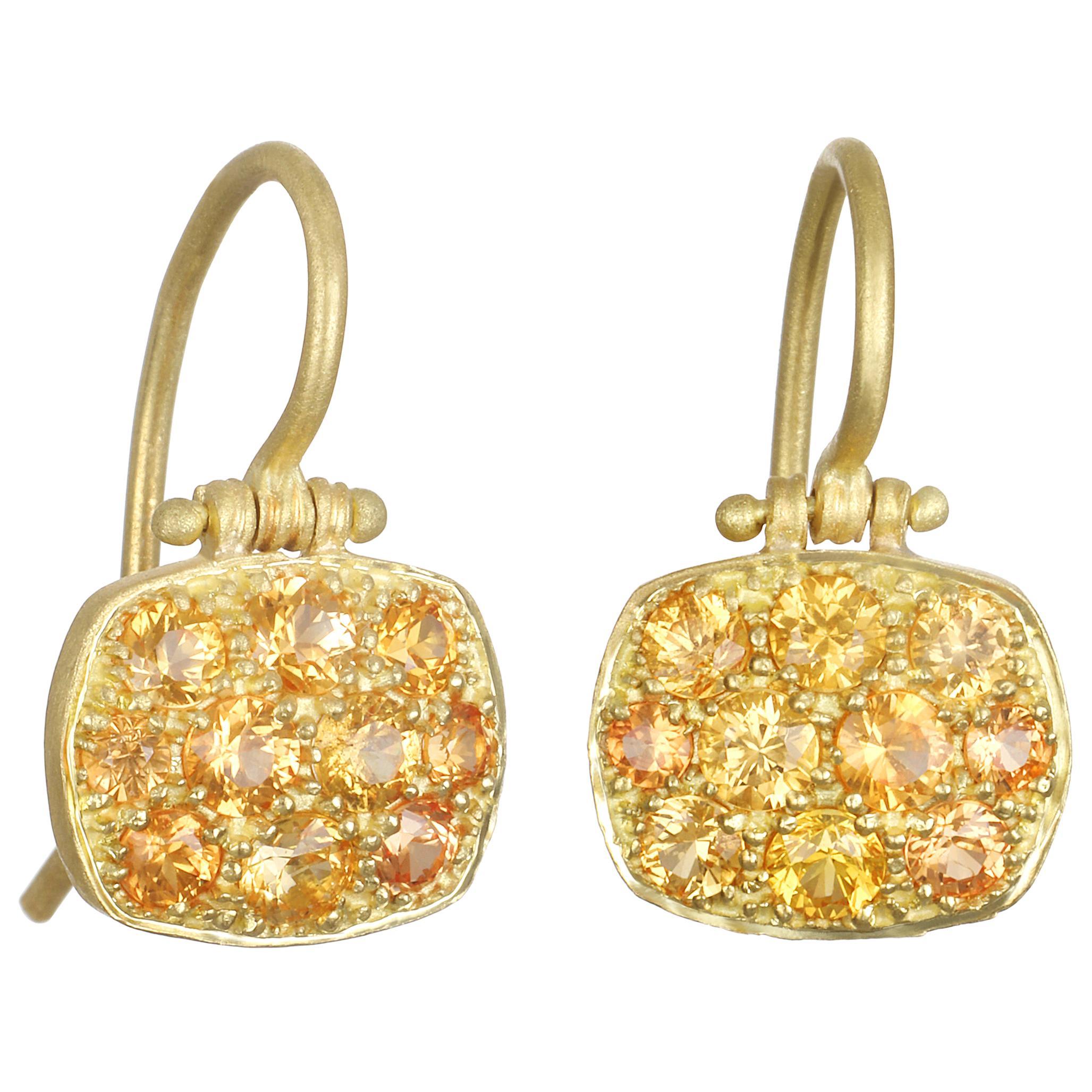 Faye Kim 18 Karat Orange Sapphire Chiclet Earrings