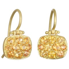 Faye Kim 18 Karat Orange Sapphire Chiclet Earrings