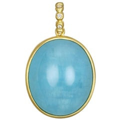 Faye Kim 18 Karat Gold Milky Aquamarine and Diamond Pendant