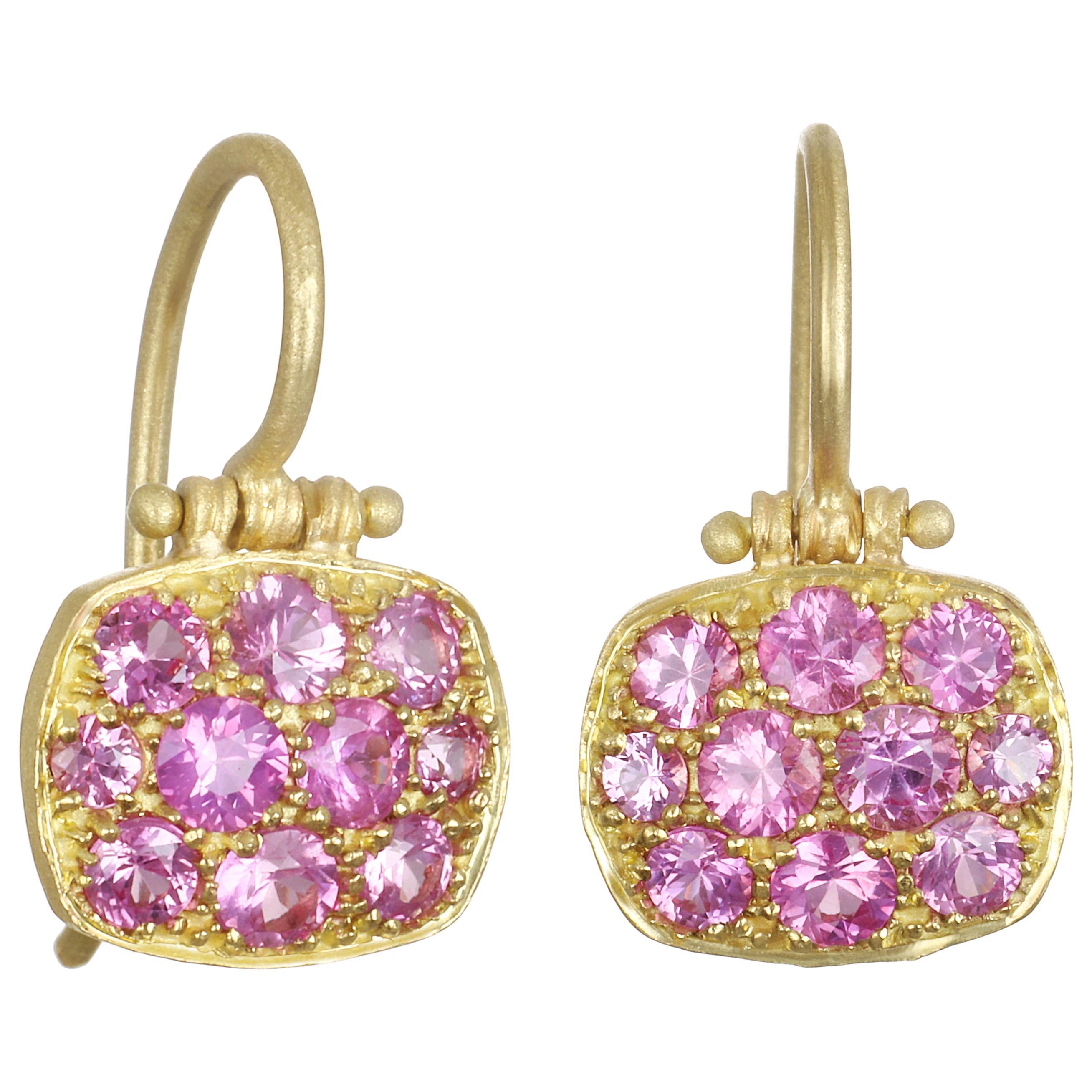 Faye Kim 18 Karat Pink Sapphire Chiclet Earrings