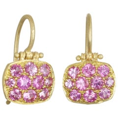 Faye Kim 18 Karat Pink Sapphire Chiclet Earrings