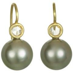 Faye Kim 18 Karat Gold Diamond Black Tahitian Pearl Drop Earrings