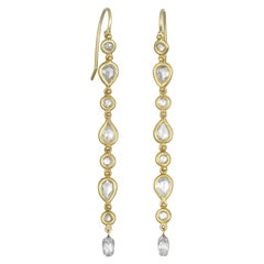 Faye Kim 18 Karat Gold White Rose Cut Diamond Line Earrings