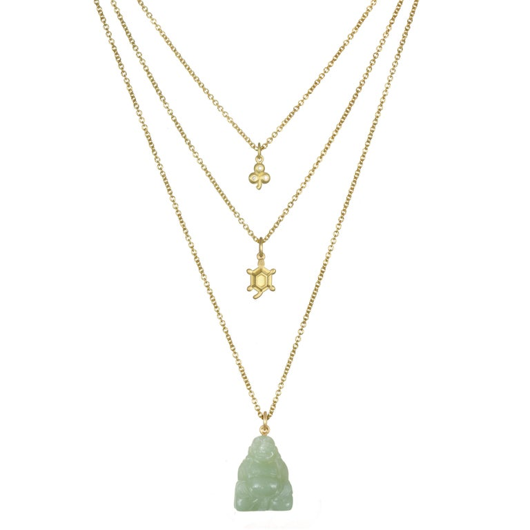 Faye Kim 18 Karat Gold and Baby Turtle Charm Necklace In New Condition For Sale In Westport, CT