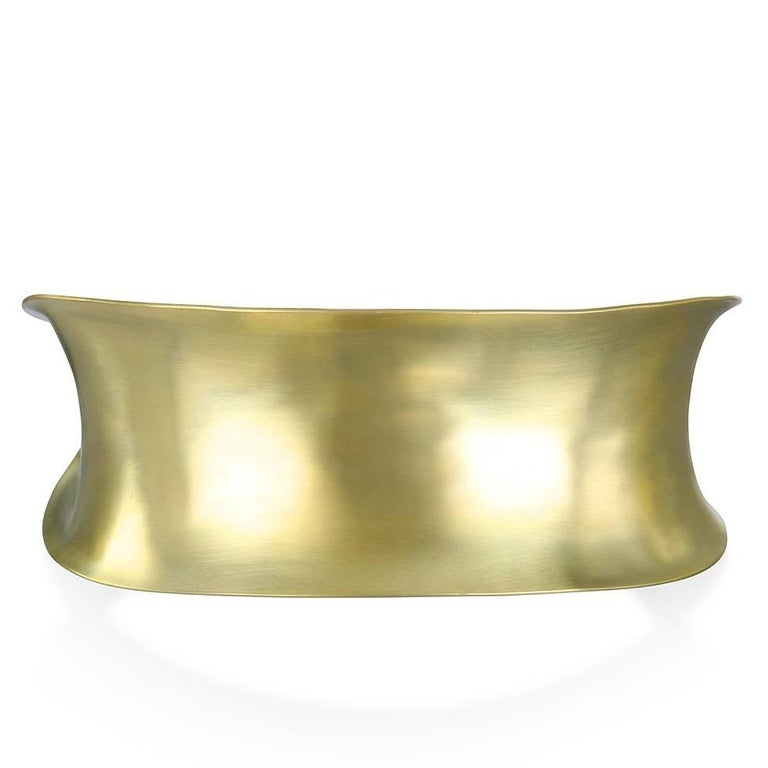 Men's Faye Kim 18 Karat Gold Anticlastic Cuff Bracelet  For Sale