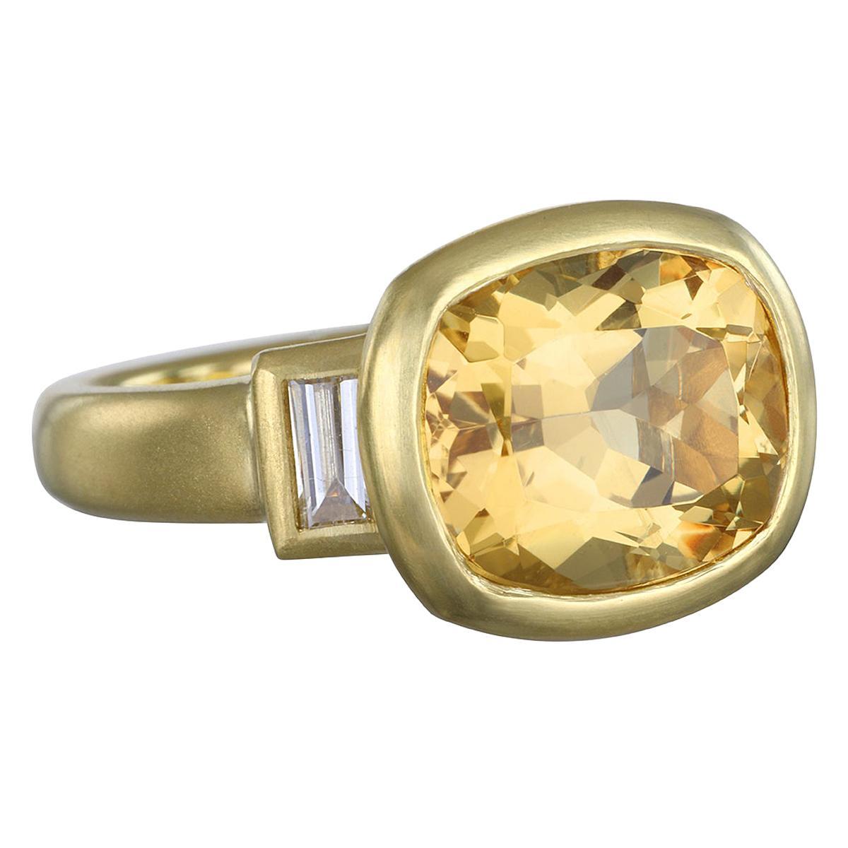 Faye Kim 18k Gold Antique Cushion Golden Beryl and Diamond Ring Three-Stone Ring
