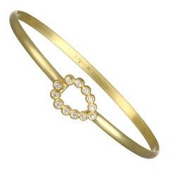 Faye Kim 18k Gold Bangle Bracelet with Diamond Tear Drop Closure