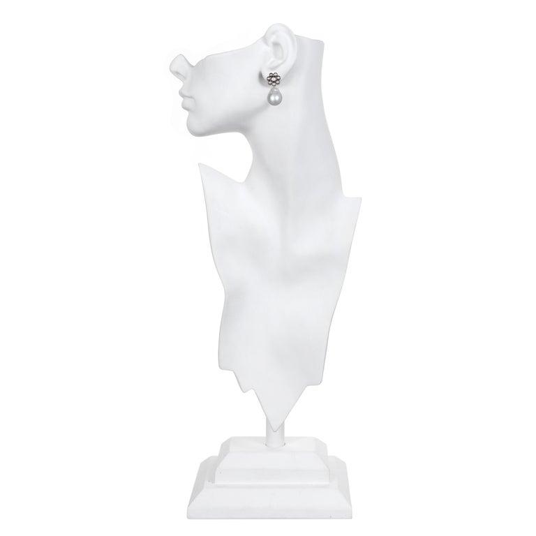 Contemporary Faye Kim 18 Karat Gold Black Rhodium Diamond Earrings with South Sea Pearl Drops For Sale