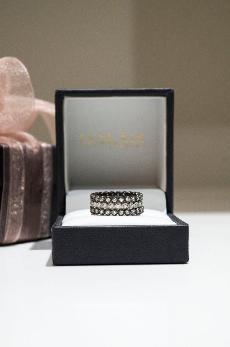 Faye Kim 18 Karat Gold Black Rhodium Diamond Eternity Band For Sale 1