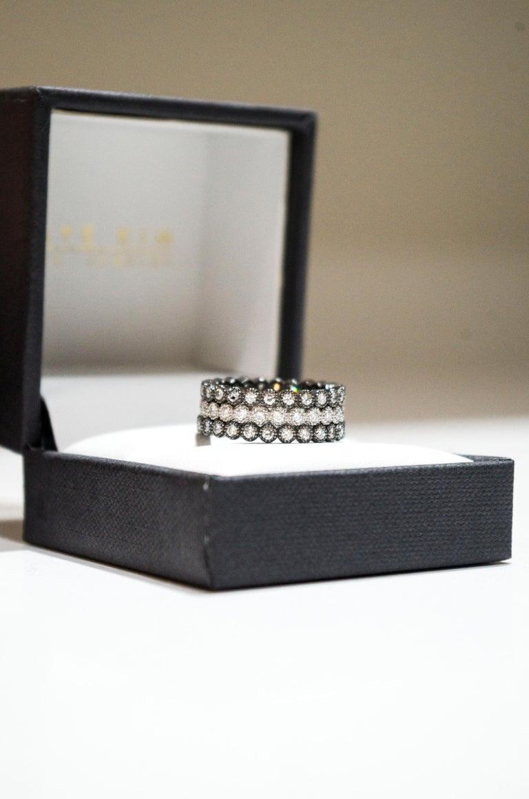 Faye Kim 18 Karat Gold Black Rhodium Diamond Eternity Band For Sale 2