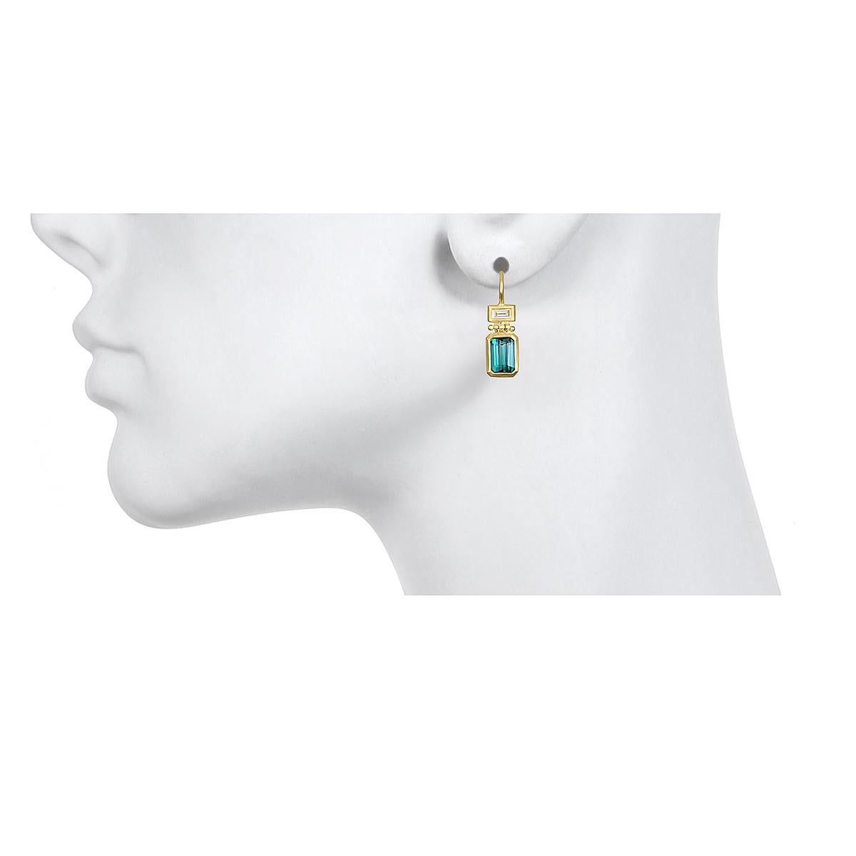 Faye Kim 18 Karat Gold Blue Green Tourmaline and Diamond Hinge Earrings