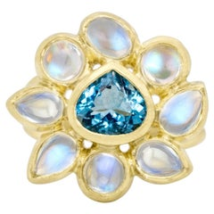 Faye Kim 18k Gold Blue Moonstone and Mozambique Aquamarine Daisy Cocktail Ring
