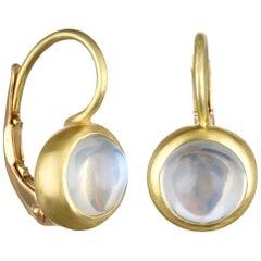 Faye Kim 18 Karat Gold Blue Moonstone Leverback Earrings