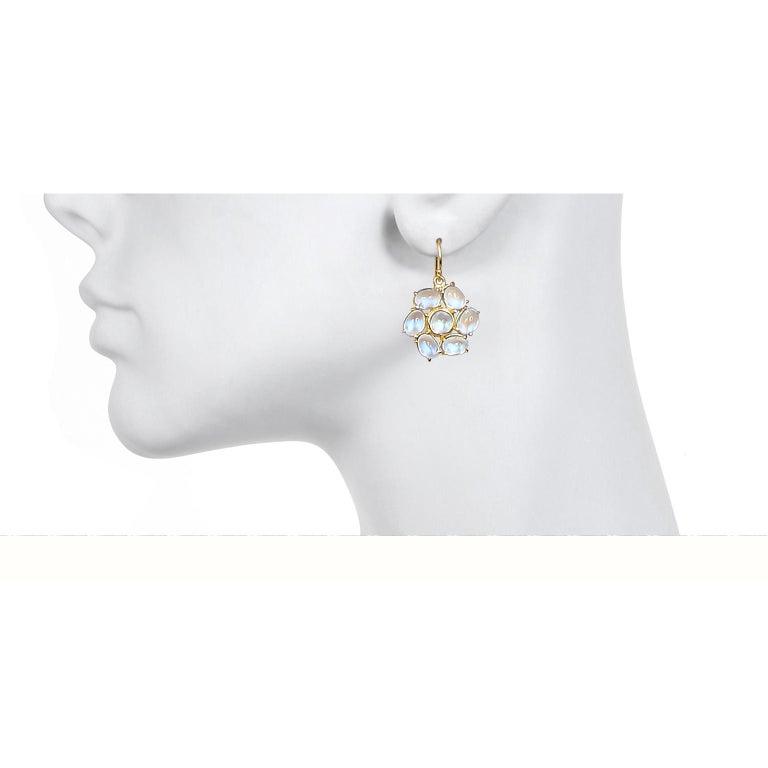 Faye Kim 18 Karat Gold Ceylon Moonstone Daisy Earrings For Sale 2