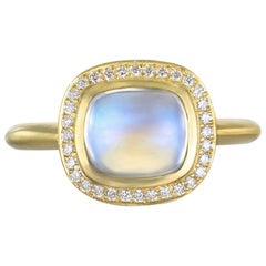 Faye Kim 18 Karat Gold Cushion Cut Blue Moonstone Ring with Diamond Halo