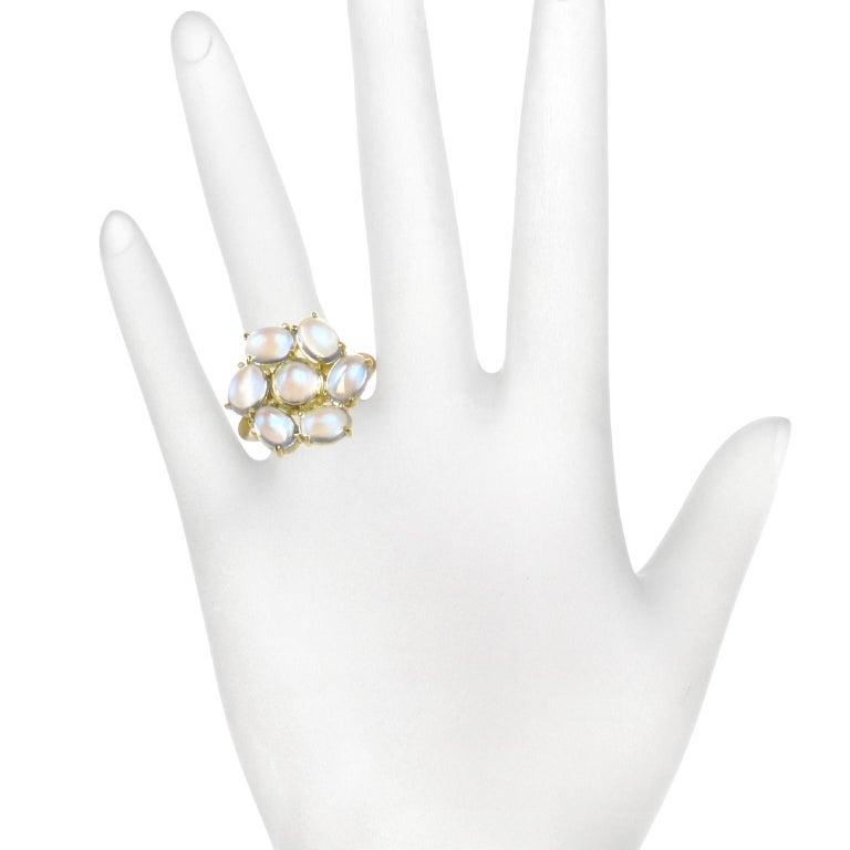 Women's Faye Kim 18 Karat Gold Ceylon Moonstone Daisy Ring For Sale