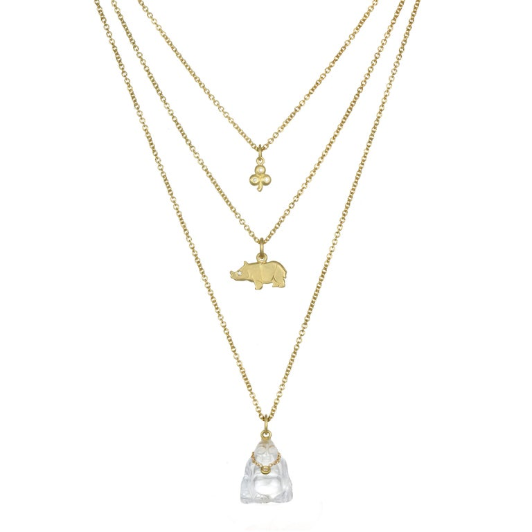 Modern Faye Kim 18K Gold, Diamond and Crystal Buddha Necklace For Sale