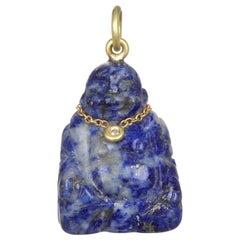 Faye Kim 18 Karat Gold, Diamond, and Lapis Buddha Necklace