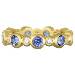 Faye Kim 18 Karat Gold Diamond and Tanzanite Eternity Ring