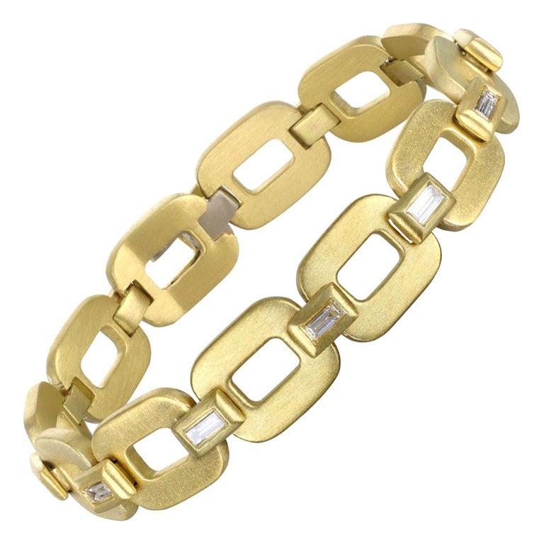 Faye Kim 18 Karat Gold Diamond Baguette Link Bracelet For Sale