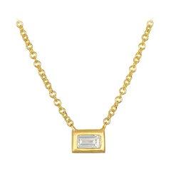 Faye Kim 18k Gold Diamond Baguette Necklace