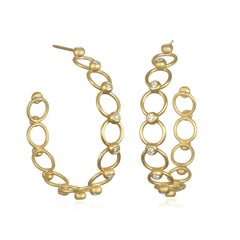 Faye Kim 18 Karat Gold Diamond Bead Hoop Earrings