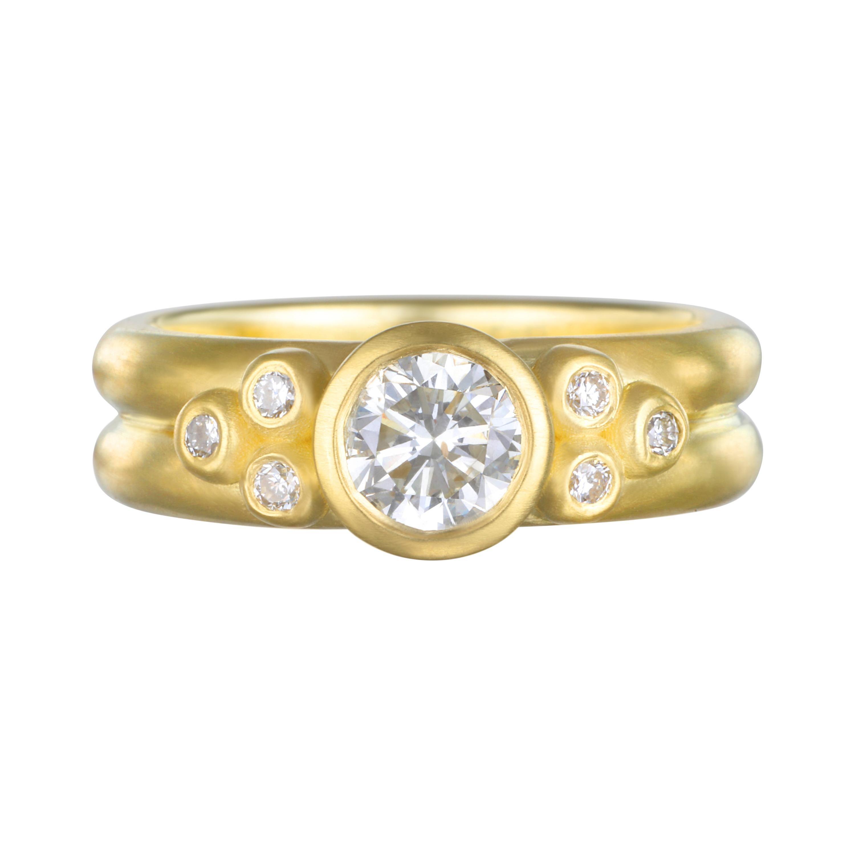 Faye Kim 18k Gold Diamond Bezel Engagement Ring with Triple Diamond Granulation