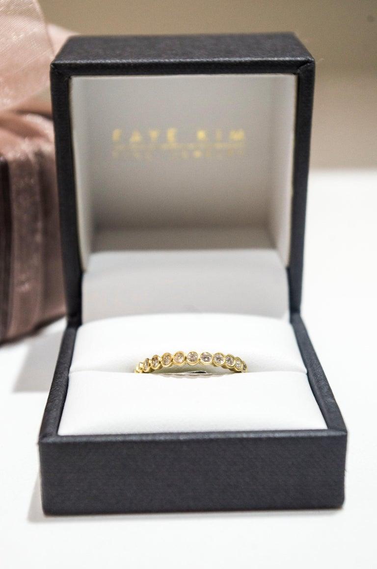 Round Cut Faye Kim 18 Karat Gold Diamond Eternity Band Ring For Sale