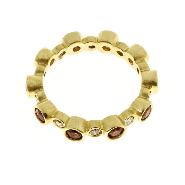 Round Cut Faye Kim 18 Karat Gold Diamond and Pink Tourmaline Eternity Band Ring For Sale