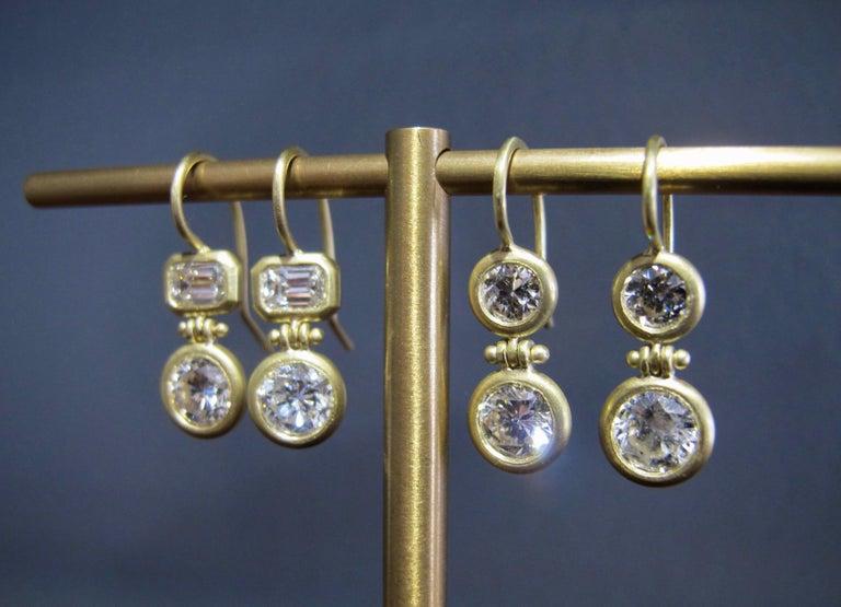 Emerald Cut Faye Kim 18 Karat Gold Double Diamond Hinged Earrings For Sale