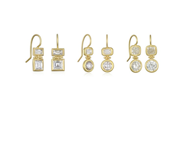 Faye Kim 18 Karat Gold Double Diamond Hinged Earrings In New Condition For Sale In Westport, CT
