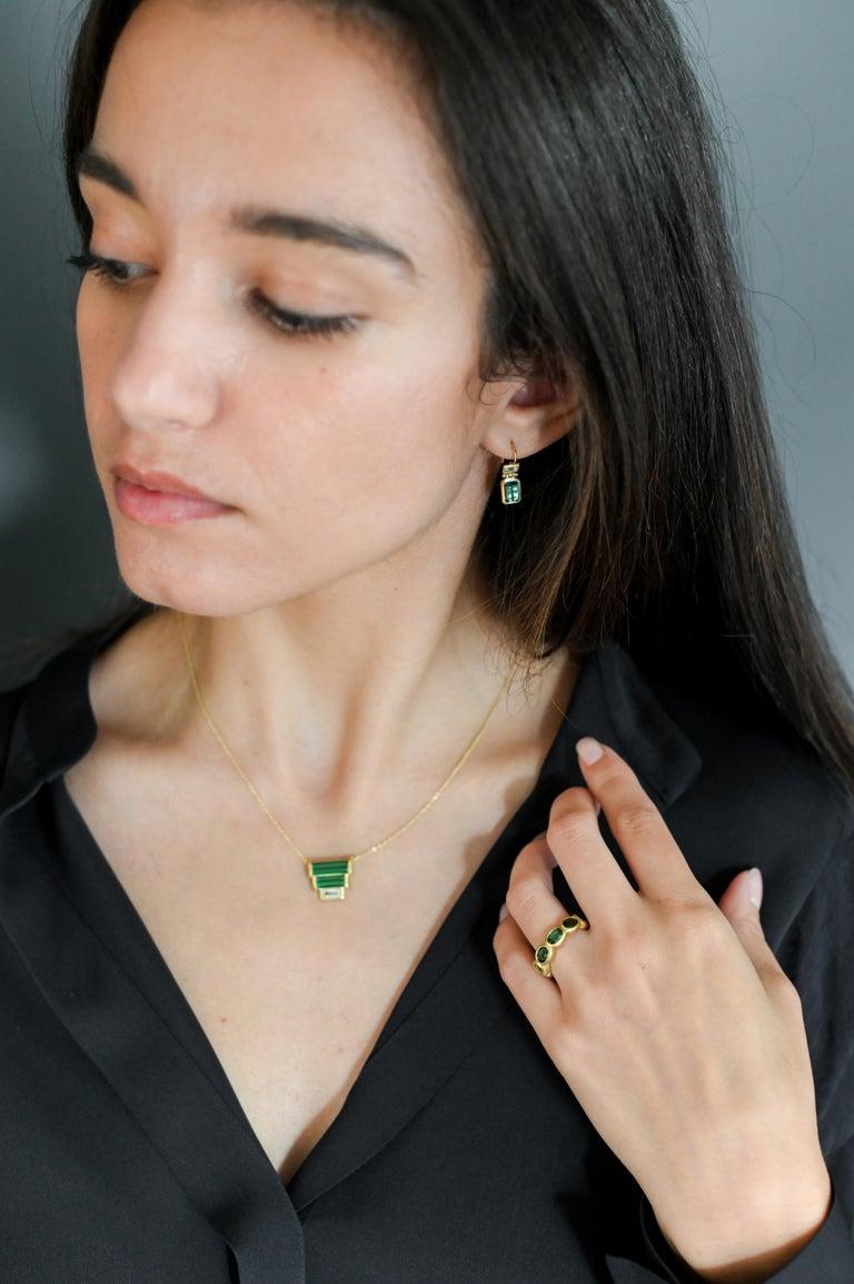 Contemporary Faye Kim 18 Karat Gold Green Tourmaline Eternity Band Ring For Sale