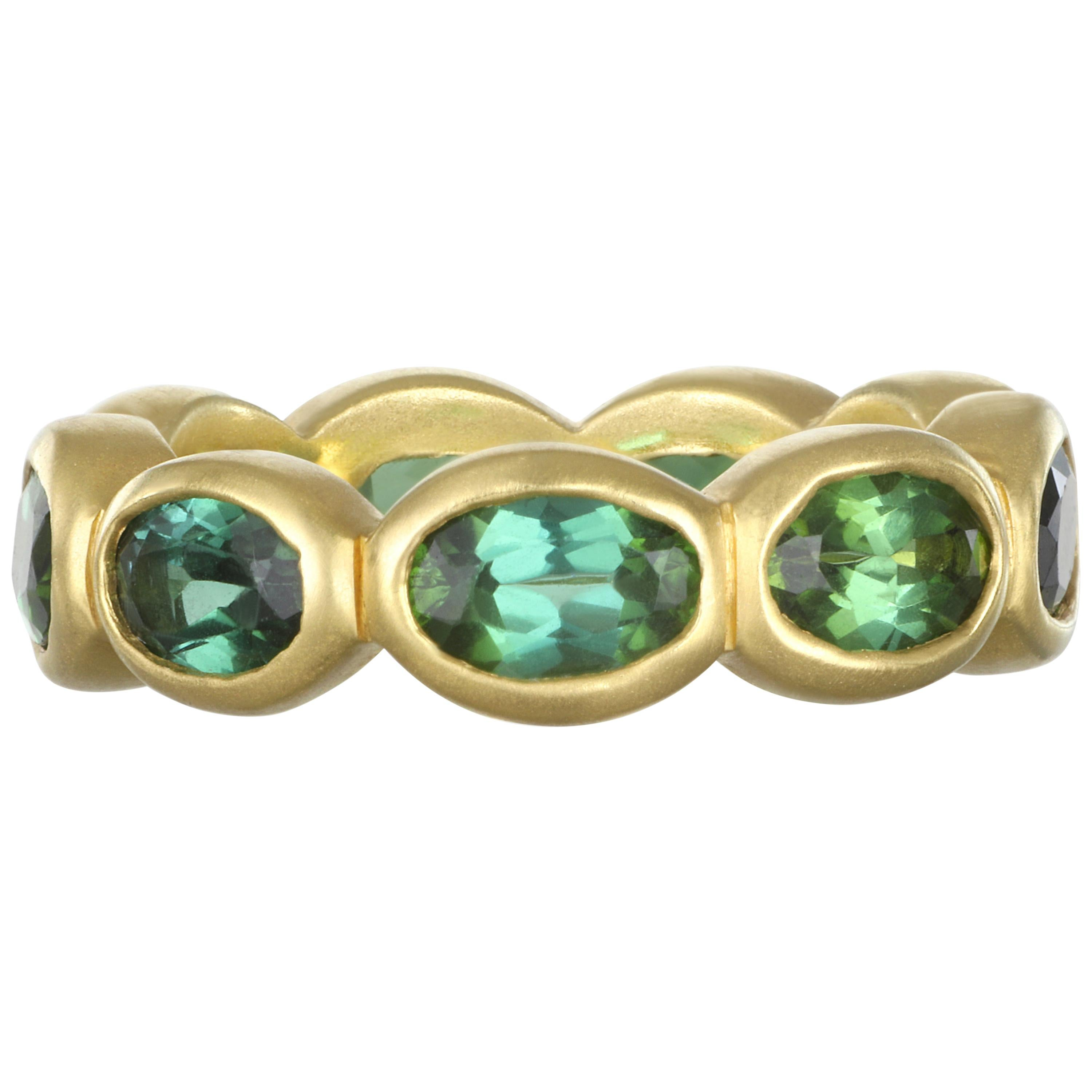 Faye Kim 18 Karat Gold Green Tourmaline Eternity Band Ring