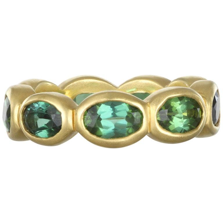 Faye Kim 18 Karat Gold Green Tourmaline Eternity Band Ring For Sale