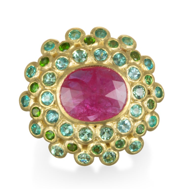 Contemporary Faye Kim 18k Gold Madagascar Ruby Paraiba Tourmaline and Tsavorite Cocktail Ring For Sale