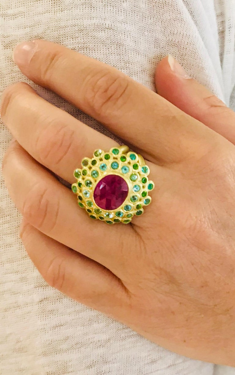 Oval Cut Faye Kim 18k Gold Madagascar Ruby Paraiba Tourmaline and Tsavorite Cocktail Ring For Sale