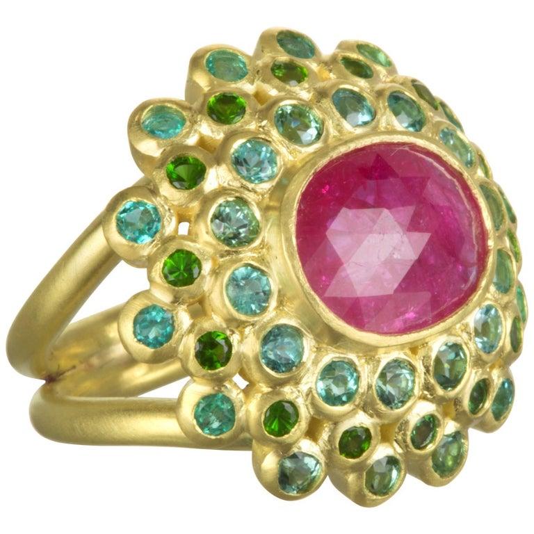 Faye Kim 18k Gold Madagascar Ruby Paraiba Tourmaline and Tsavorite Cocktail Ring For Sale