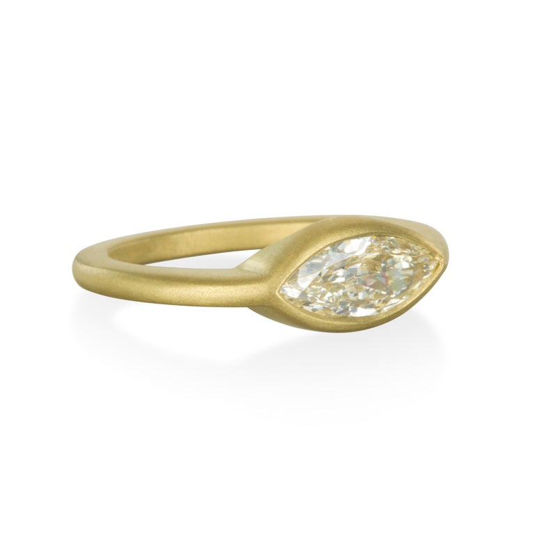 Modern Faye Kim 18 Karat Gold Marquise Cut Diamond Engagement Ring For Sale