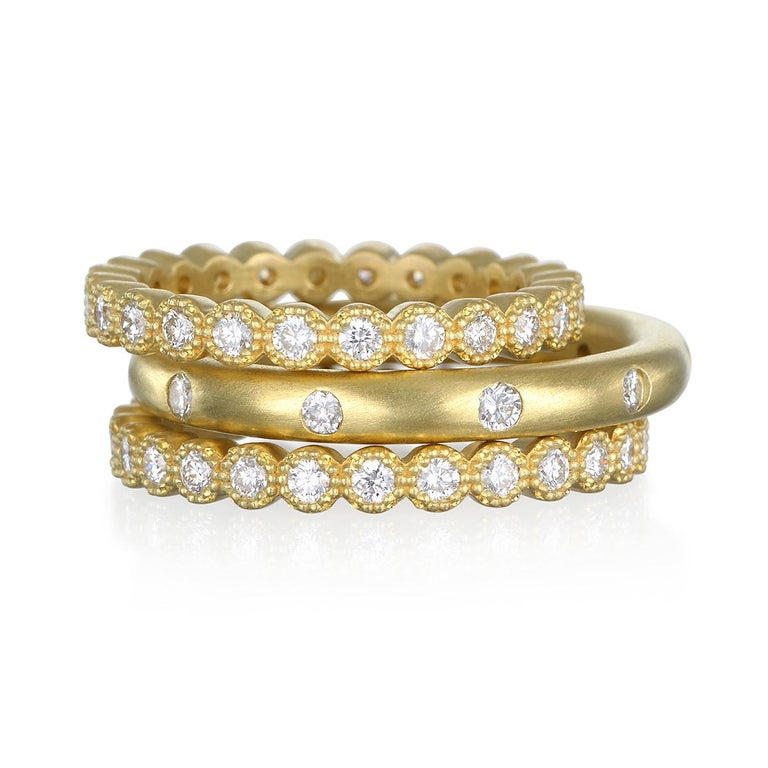 Worn alone or stacked, Faye Kim's 18K Green Gold Milgrain Diamond Eternity Bands are a great addition to your jewelry collection.  Classic eternity band with a Milgrain edge detail, the bright white diamonds are lively and sparkle like only diamonds