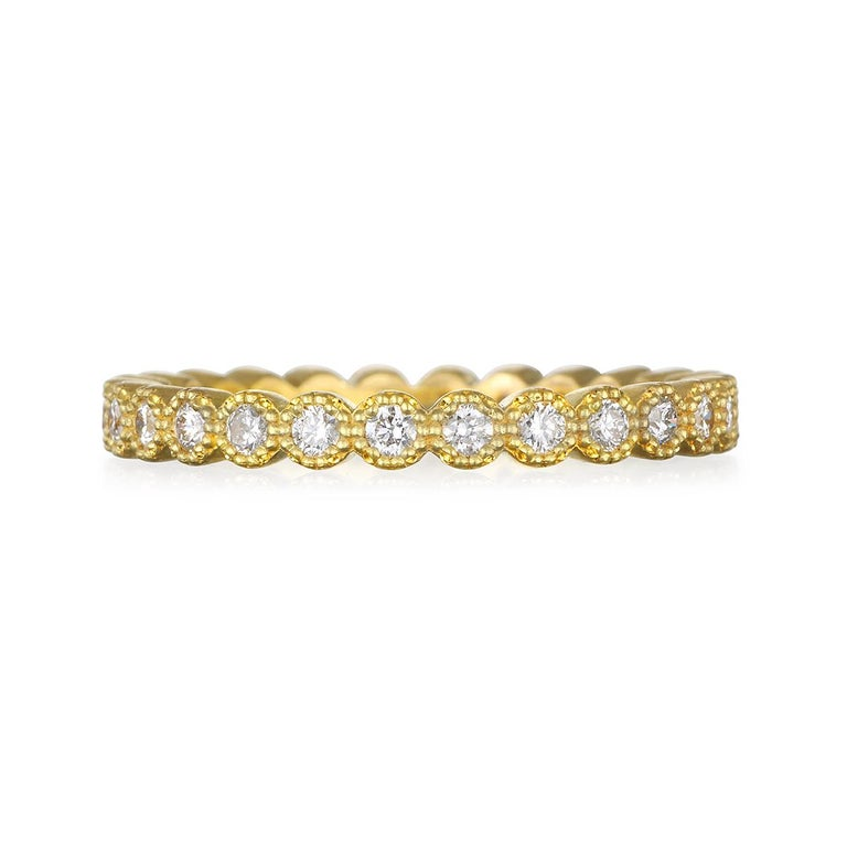 Contemporary Faye Kim 18 Karat Gold Milgrain Diamond Eternity Band For Sale