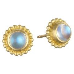 Faye Kim 18 Karat Gold Moonstone Stud Earrings with Granulation Border