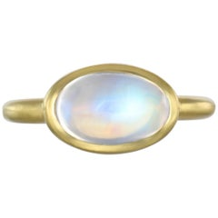 Faye Kim 18 Karat Gold Oval Blue Moonstone Ring