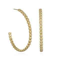 Faye Kim 18 Karat Gold Oval Diamond Bead Granulation Hoop Earrings