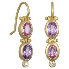 Faye Kim 18k Gold Oval Fancy Pink Purple Sapphire Hinged Earrings with Diamonds