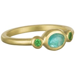 Faye Kim 18 Karat Gold Paraiba Tourmaline and Tsavorite Stack Ring