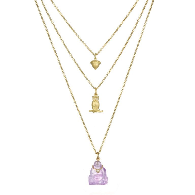 Round Cut Faye Kim 18 Karat Gold Owl Charm Necklace with Diamond Eyes For Sale
